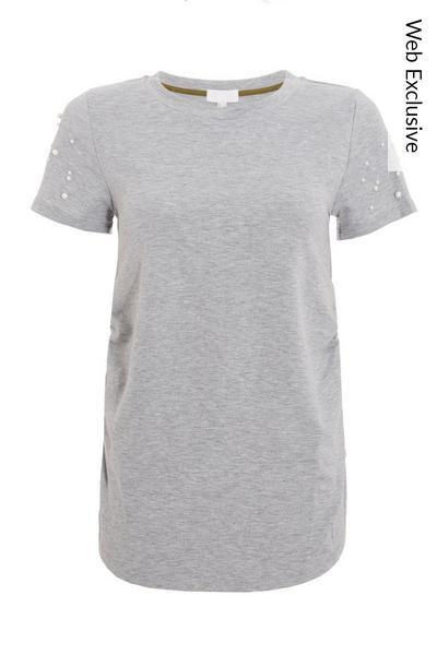 Grey Pearl Detail T Shirt